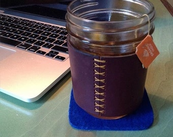 Leather Cozy for Wide Mouth Ball Jar
