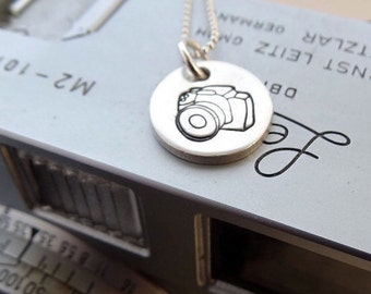 Handmade recycled fine silver camera necklace, camera, photographer, photography, pendant