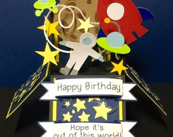 Happy Birthday outer space keepsake box card.