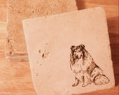 Collie Coasters ~ Set of 4 Coasters ~Stone Coasters  ~ Stamped Coasters~ Stone Tile Coasters ~ Drink Coasters