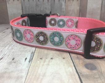 "The Florabel | 1"" Sprinkle Donuts Dog Collar | Medium/Large Dog | CupcakePups | Handmade"