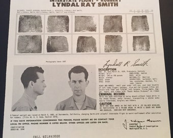 Vintage FBI Wanted Poster / FBI Poster / Wanted Poster / Wanted By FBI / Lyndal Ray Smith