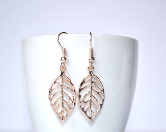 Light Rose Gold Leaf Earrings. Bridesmaid gift, wedding, gift for her, rose gold jewelry, leaf jewelry, drop earrings, dangle earrings