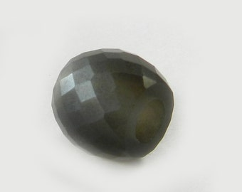 On sale - 2 pcs - Grey moonstone - 11*13mm - Barrel - Facet Beads - 5mm Big hole - Large hole bead - bracelet - Gemstone - SHBD146