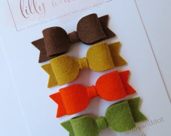 Mini Hair Bows - Autumn Colours - Felt Hair Bow - Bow Hair Clips - Olive Hair Bow - Felt Mini Bows - Bow Hair Set - Bow Clips Set -Hair Bows