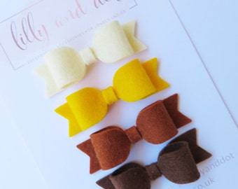 Brownies Bows - Brownies Hair Clips - Guides - Girl Guides - Hair Bows - Mini Hair Bows - 100% Wool - Felt Hair Bow - Hair Clips - PhotoProp