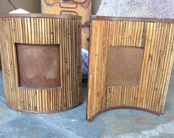 2 CURVED PHOTO FRAMES Set of 2 Vintage Tiki Picture Frames Trimmed with Wood and Leather