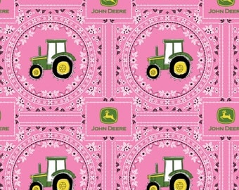 John Deere Pink Bandana Tractor from Springs Creative by the yard