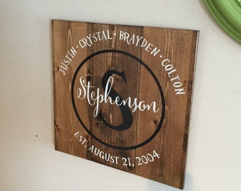 Last Name Family Planked Wood Sign