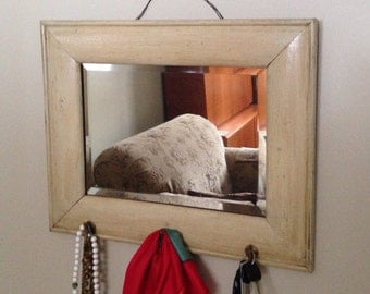 Antique Farm Country Re Purposed Mirror  ~ Re purposed Mirror  ~ Country Style Mirror ~ Beach Cottage Mirror  ~  Jewelry Mirror ~ Mud Room