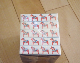 Vintage Set of 10 Swedish Dala Horse Match Individual Boxes   Scandinavian Match Box   Swedish Dala Horse   Match Box   Made In Sweden