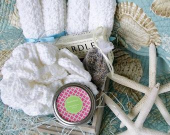 Mothers' Day Bath Spa Set Crochet Set, Lavender Weddings, Bridesmaid Favors, Bridal Shower Gift Eco Friendly, Cotton, Handmade Ready to Ship