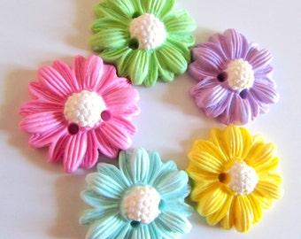 Rainbow Buttons - Daisies - handmade 22mm