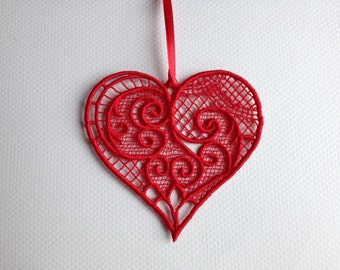 Embroidered Heart Ornament (Free Standing Lace)