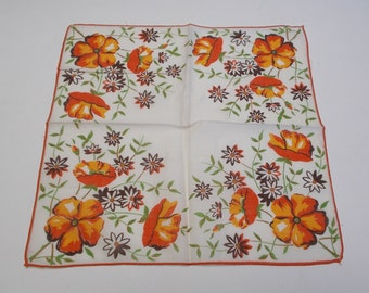 Women's Mid-Century Orange Poppy and Daisy Print Cotton Handkerchief