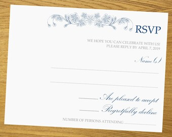 RSVP template, Printable RSVP, diy RSVP template, R.S.V.P. design, all colors available, beautiful floral swirls, 4.5 x 6.5 inches, #001-002