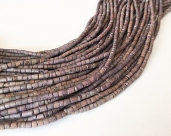 "2-3mm Coconut Heishi, Coco Heishi, Natural Wood Beads, Coconut Shell Heishi  Gray  24"" strand"