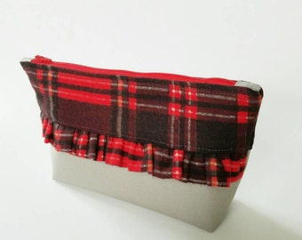 "The ""Anne"" Ruffle zipper pouch, plaid pouch, ruffles, zipper pouch, red plaid"
