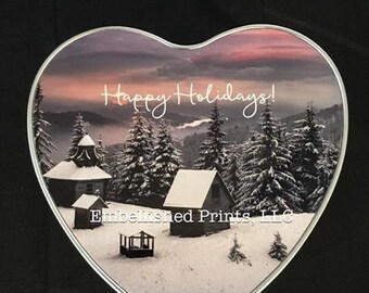 Custom Personalized Heart Christmas Tin.  Any picture can be used.  Great for putting cookies in.