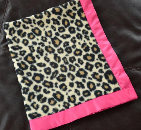 Cheetah Fleece Blanket With Pink Satin Binding