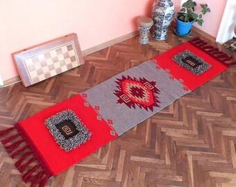 Modern rug runner with boho motifs, bohemian handwoven wool rug runner, home decor floor rug, kilim rug, boho home decor rug, boho rug