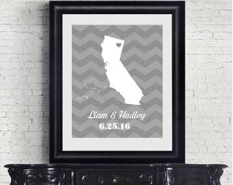 Wedding Print, Personalized Wedding Gift, State Map - Digital Printable File - Chevron