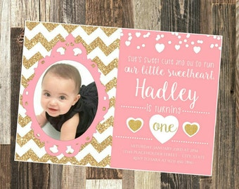 Sweetheart Birthday Invite - First Birthday Invite - DIY Printable File