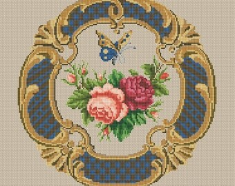 ANTIQUE ROSE Cross Stitch Pattern PDF - Instant Download