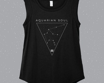 Aquarian Soul | Aquarius Sleeveless Shirt, astrology shirt, constellation shirt, Zodiac shirt, Zodiac clothes