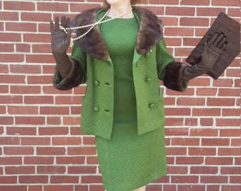 Beautiful green quilted fur trim suit FREE SHIPPING from RCMooreVintage vintage 1960
