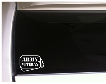 """Army Vet Dog Tags Car Decal Vinyl Sticker 6"""" Military Support Troops *L70"""