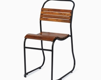 Vintage Retro Industrial Wooden Slated Chairs - Dining/Restaurant Limited stock