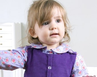 """Baby blouse in violet cotton, printed with """"flowers"""""""