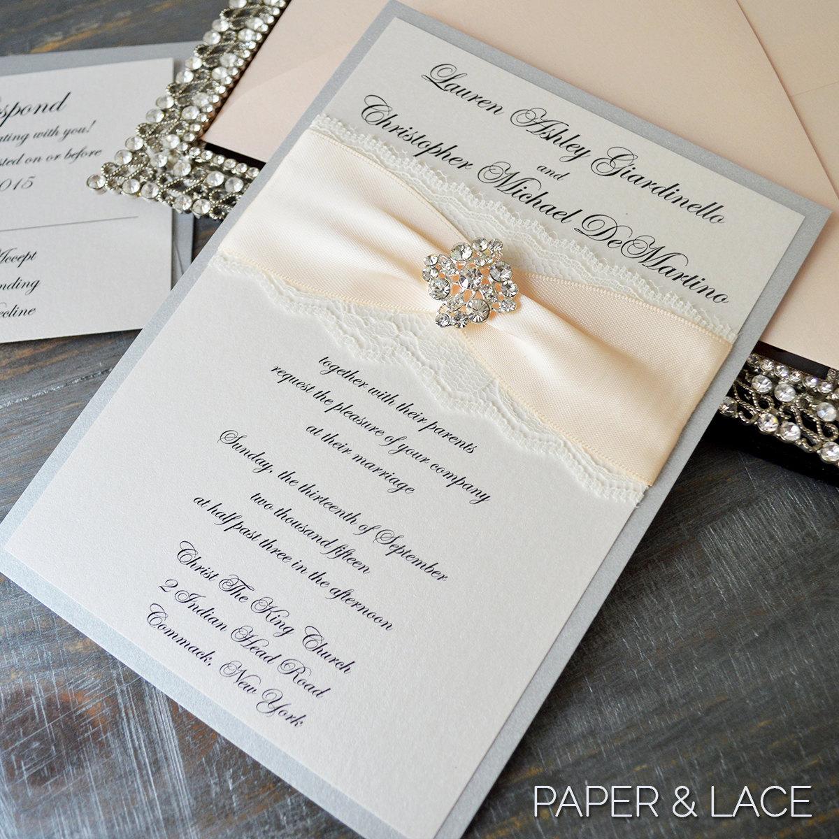 Silver Wedding Invitations: LAUREN Vintage Lace Wedding Invitation Silver And Blush