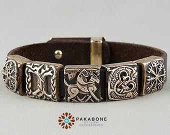 Viking Bracelet with Bronze Beads: Helm of Awe - Yggdrasil - Odin Sleipnir Hugin Munin - Fenrir - Vegvisir 000-846