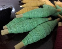 Green grass Cotton Thread/ Yarn - Sashiko Green dyed good thread - Natural hand dye/ Plant dyes - Embroidery Supplies - Sewing/ Quilting
