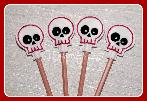 Felt Sugar Skull Pencil Topper WITH PENCIL Handmade