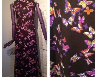 1960s Butterfly Print Maxi Dress