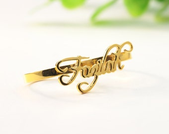 Gold Double Finger Ring, Custom Name Ring, Personalized Nameplate Ring, Hip Hop Ring, Font Choose