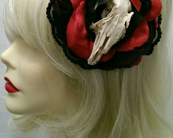 black & red rose with lace   rabbit skull taxidermy hair flower