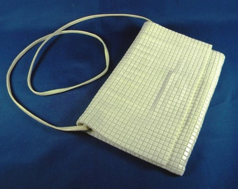 La Regale plastic squares vintage Cream colored purse handbag shoulder bag 1960s or 1970s