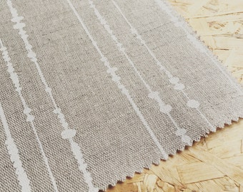 Linen Fabric- Modern Linen- Printed Linen- White- Beige- Natural Linen- Fabric By The Metre- Botanical Fabric- Linen- Scandinavian Linen