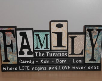 Family wood sign, Personalized Family wood blocks, Custom last name blocks , wooden blocks, Family blocks, home decor blocks, christmas gift