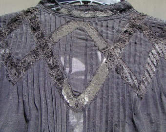 Victorian Black Cotton Top with Beautiful Lace Inlay