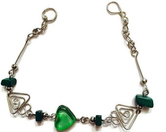 Wire Wrapped Bracelet- Murano Glass Beaded Bracelet -Silver- Hand Blown Glass Beads and Wire Wrap Silver, Green Beaded Bracelet, Olive Beads