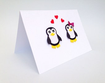 Penguin Valentine's card, fun penguin Valentine's card, Penguin love card, Penguin card, Penguins in love card, His & hers penguin card