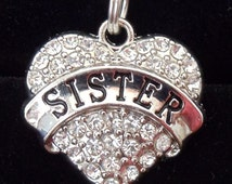 Crystal heart Sister charm. Fits Pandora and other similar styles. Charm only