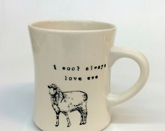 I wool always love ewe- sheep - ceramic pottery mug