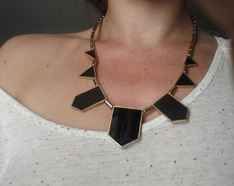 Black onyx and gold costume necklace