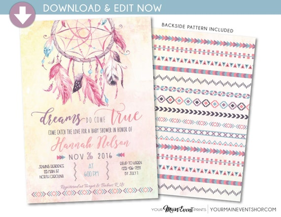 Dreamcatcher Boho Baby Shower Invitation • Dream Catcher Tribal Chic • Dreams Do Come True • Instant Download Edit Yourself Invite